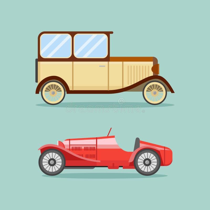 Iconos planos de los coches retros del vintage Ilustración del vector libre illustration