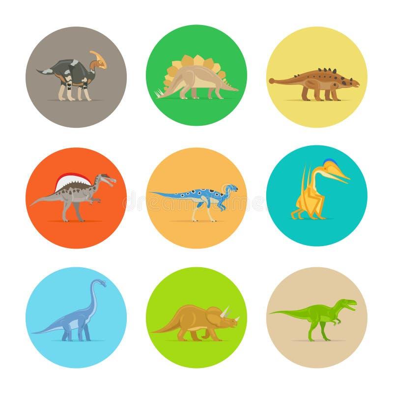 Iconos planos de los dinosaurios stock de ilustración