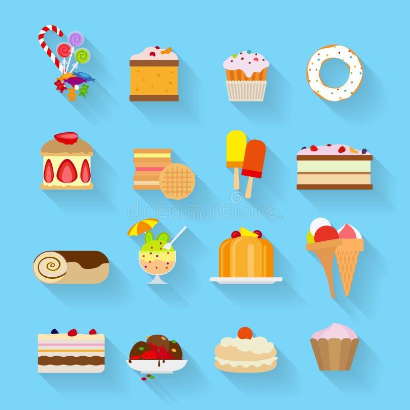 Iconos planos de los dulces ilustración del vector