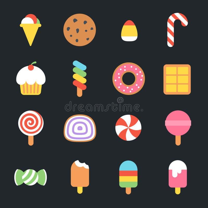 Iconos planos de los dulces stock de ilustración