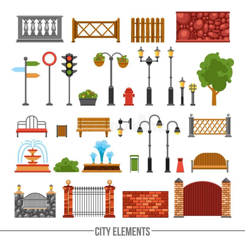 Iconos planos de los elementos de la ciudad fijados ilustración del vector