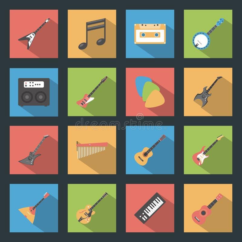 Iconos planos de los instrumentos musicales fijados ilustración del vector