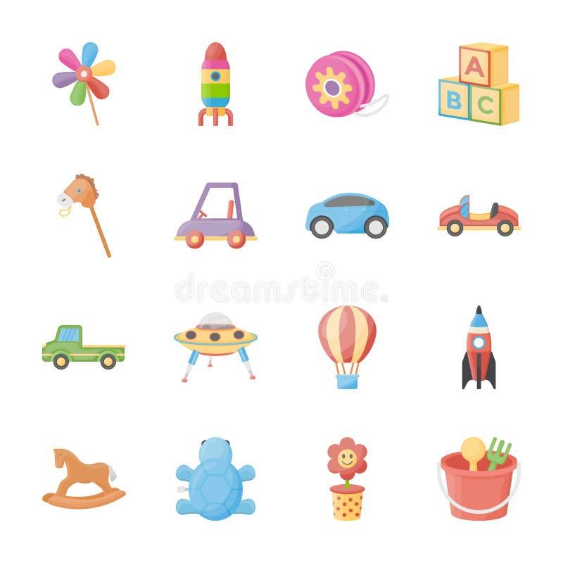 Iconos planos de los juguetes de los niños libre illustration