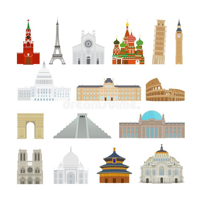 Iconos planos de los monumentos stock de ilustración