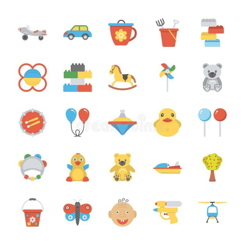 Iconos planos de los niños y de los niños fijados ilustración del vector