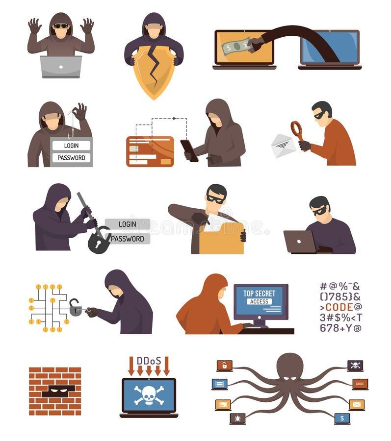 Iconos planos de los piratas informáticos de la seguridad de Internet fijados stock de ilustración