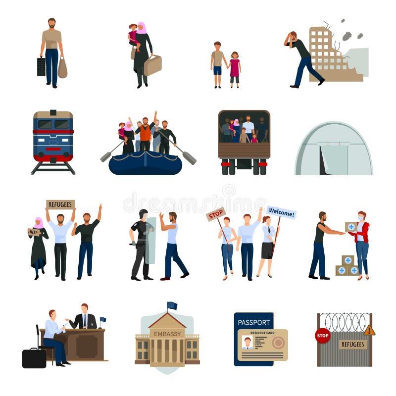 Iconos planos de los refugiados apátridas fijados libre illustration