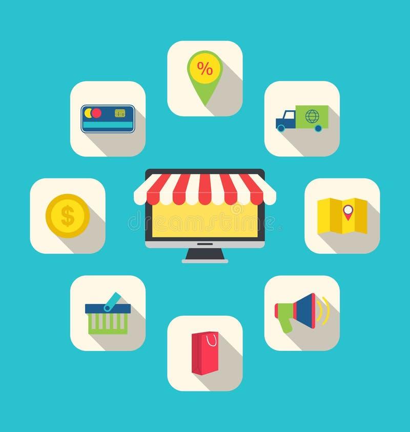 Iconos planos de los símbolos de las compras del comercio electrónico stock de ilustración