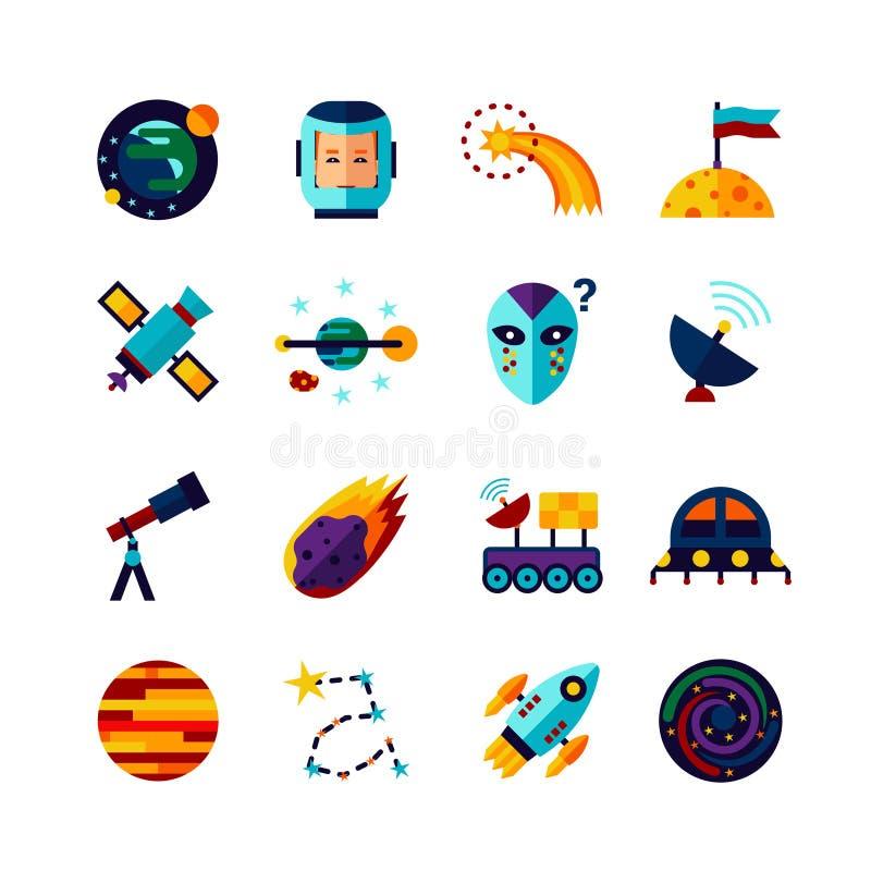 Iconos planos de los símbolos del espacio fijados libre illustration
