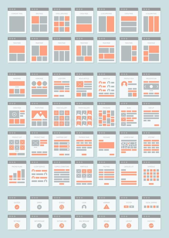 Iconos planos de los sitemaps del sitio web fijados ilustración del vector