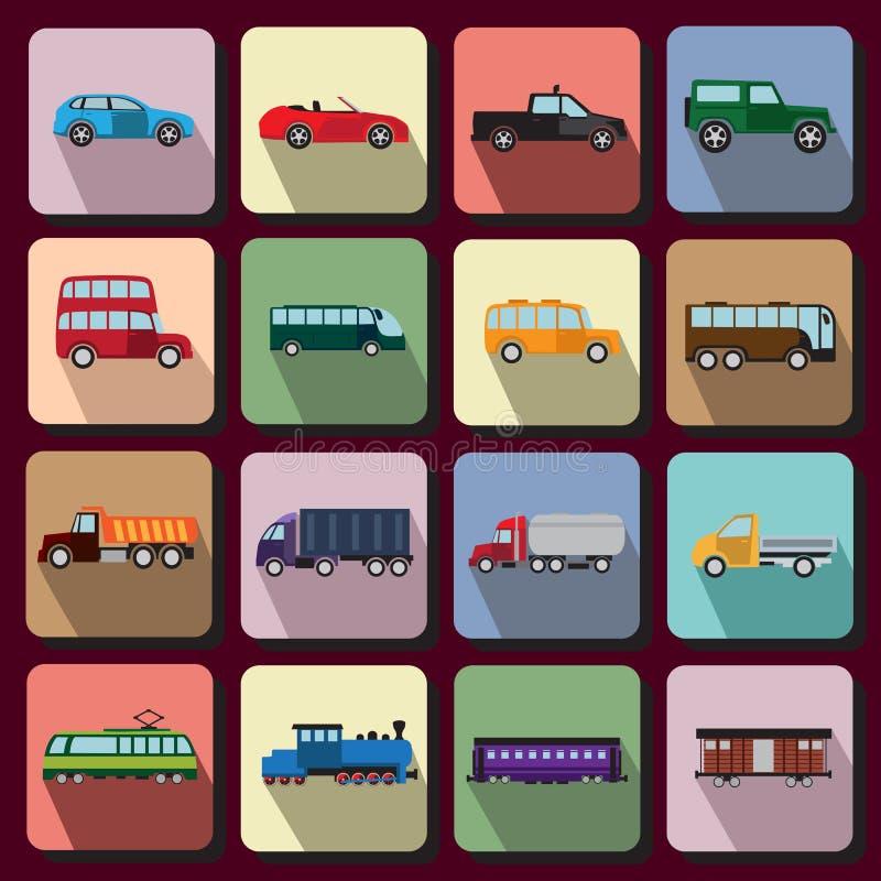 Iconos planos de los vehículos ilustración del vector