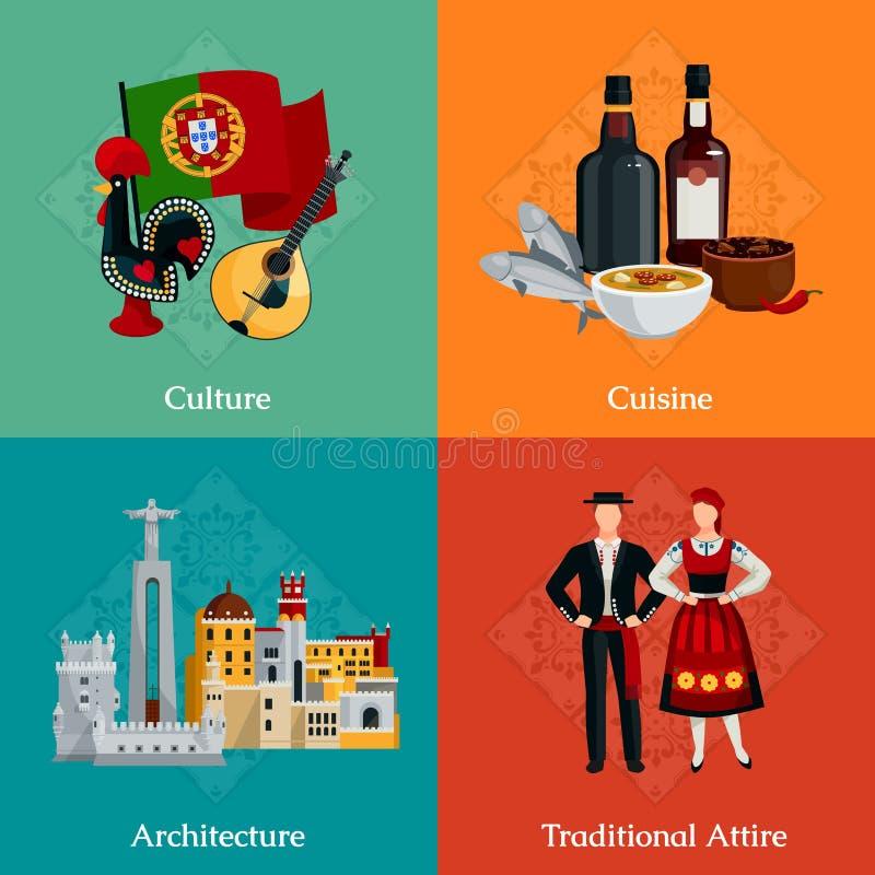 Iconos planos de Portugal 2x2 fijados stock de ilustración