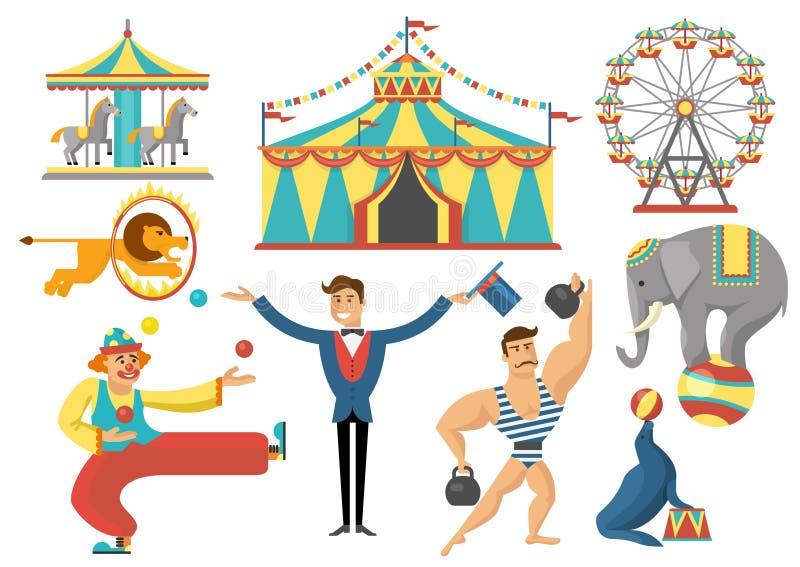 Iconos planos decorativos del circo fijados ilustración del vector
