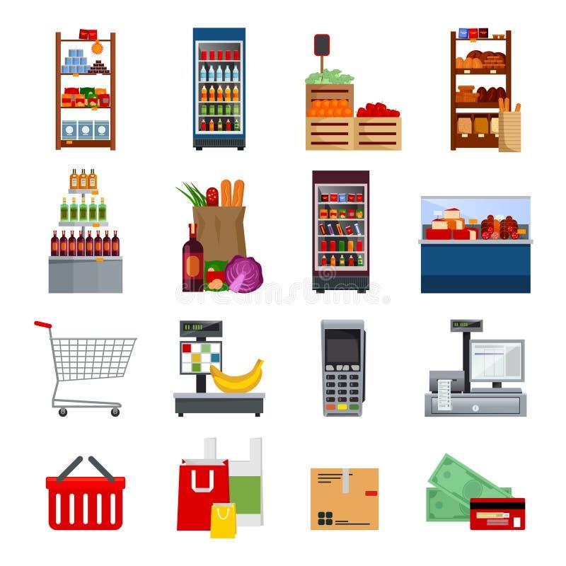 Iconos planos decorativos del supermercado fijados ilustración del vector