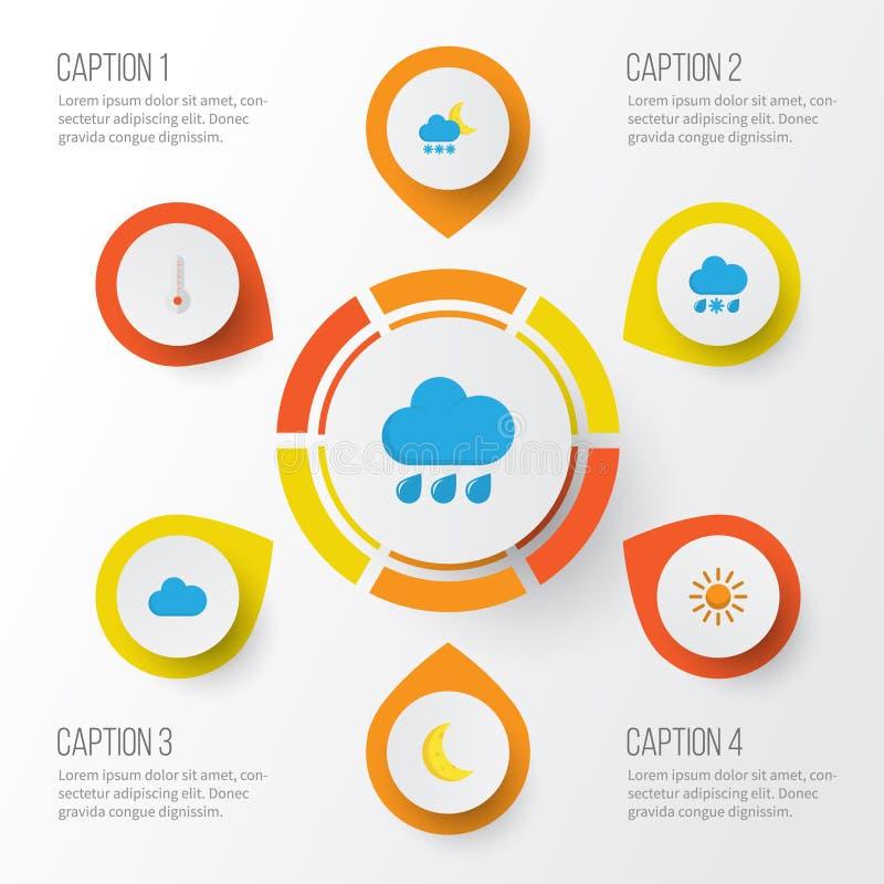 Iconos planos del aire fijados La colección de escarchado, lluvia, llovizna y otros elementos También incluye símbolos tal como l libre illustration