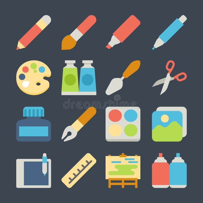 Iconos planos del arte fijados stock de ilustración