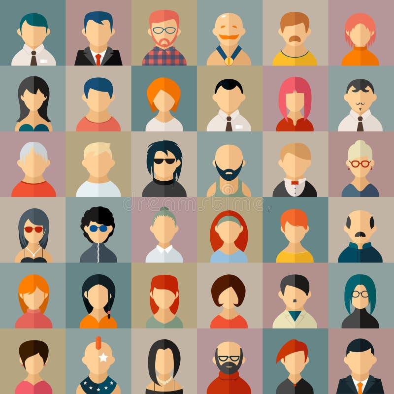 Iconos planos del avatar del carácter de la gente ilustración del vector