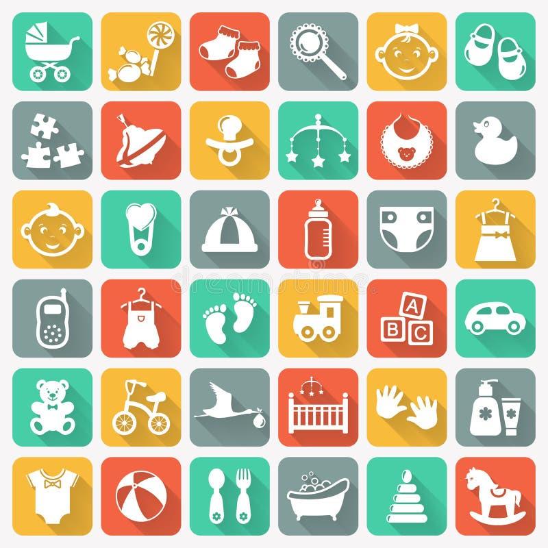 Iconos planos del bebé en los botones cuadrados coloridos ilustración del vector