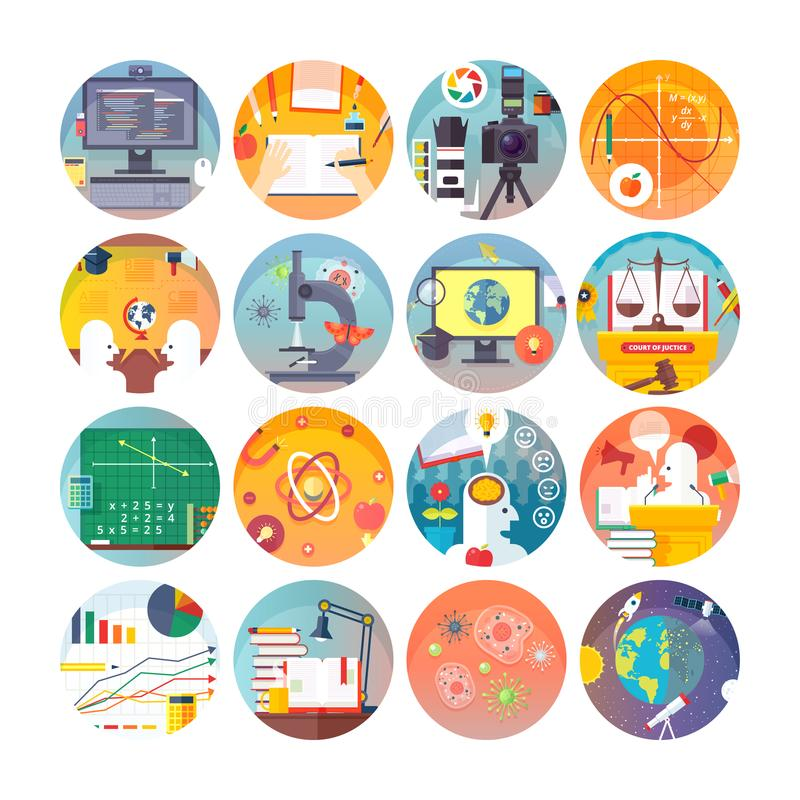 Iconos planos del círculo de la educación y de la ciencia fijados Temas y disciplinas científicas libre illustration
