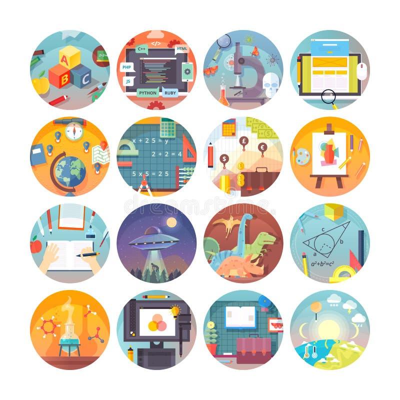 Iconos planos del círculo de la educación y de la ciencia fijados Temas y disciplinas científicas Colección del icono del vector ilustración del vector