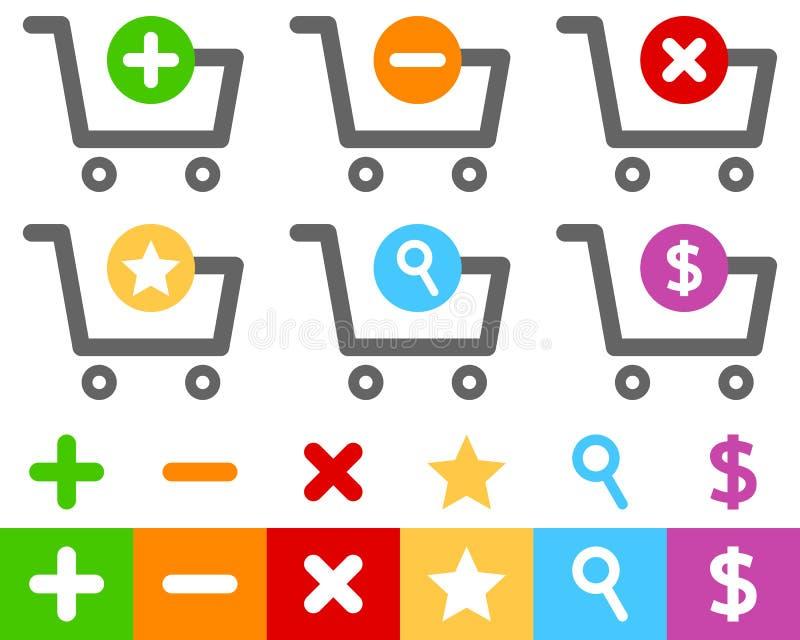 Iconos planos del carro de la compra fijados stock de ilustración