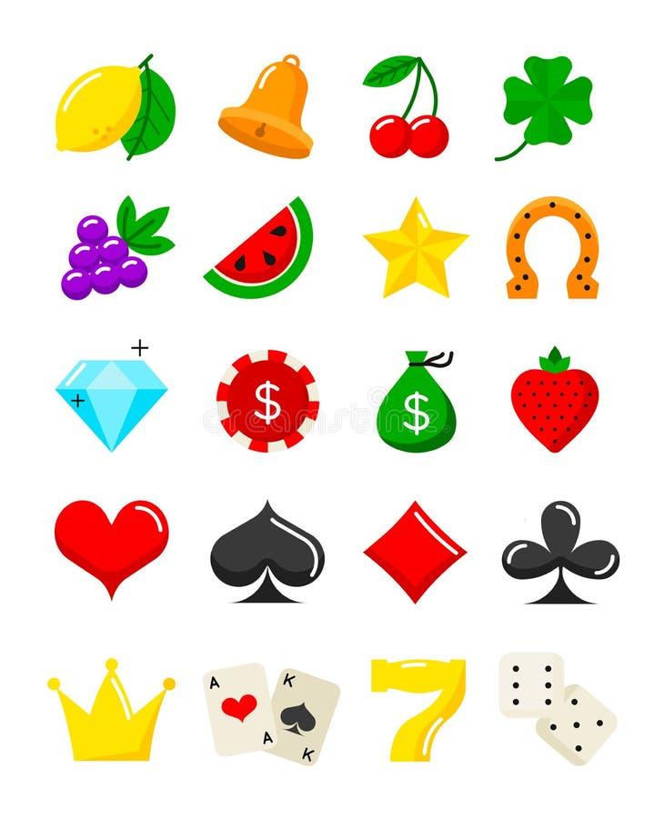 Iconos planos del casino brillante fijados Símbolos de la máquina tragaperras del vector ilustración del vector