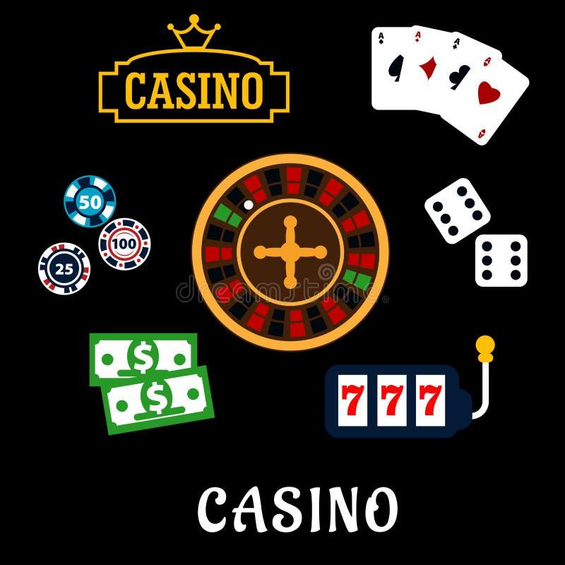 Iconos planos del casino con símbolos de juego ilustración del vector