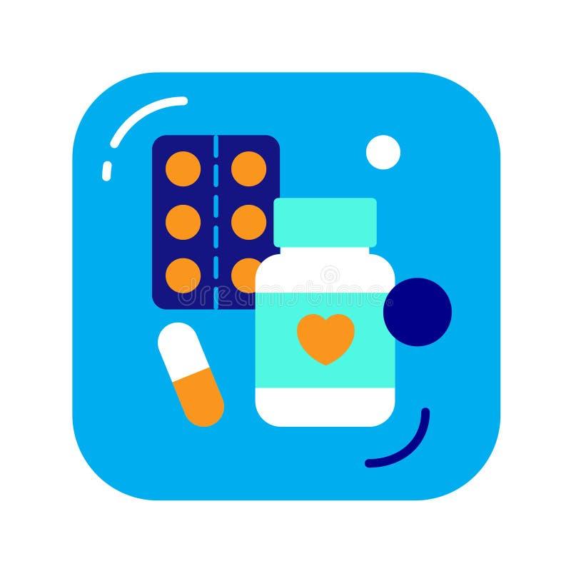 Iconos planos del color de las variedades de la tableta El concepto de tratamiento de la droga, un curso de la prevención ilustración del vector
