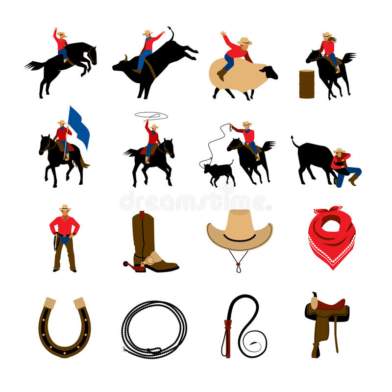 Iconos planos del color del rodeo stock de ilustración