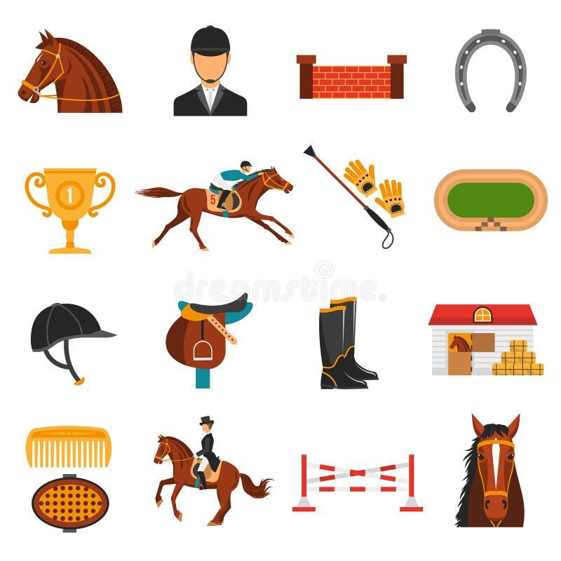 Iconos planos del color fijados con el equipo del caballo stock de ilustración