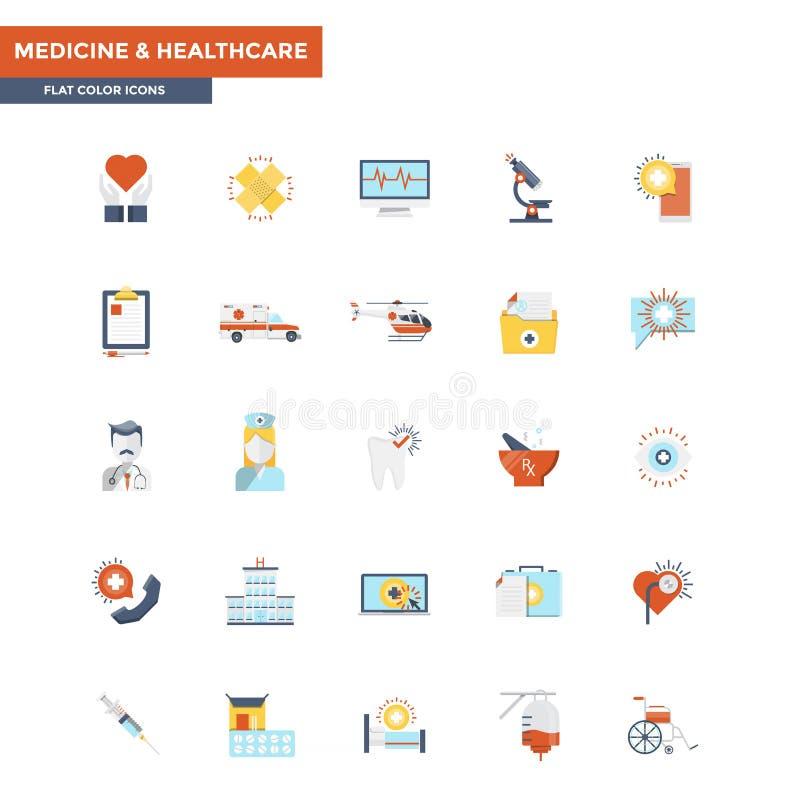 Iconos planos del color médicos y atención sanitaria libre illustration