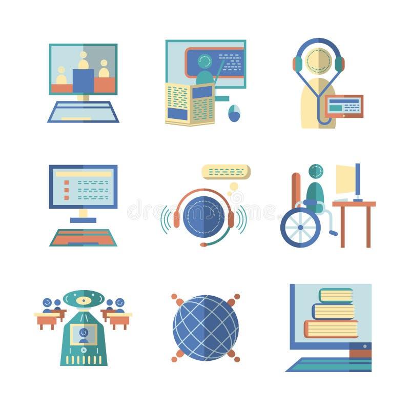 Iconos planos del color para la e-educación ilustración del vector