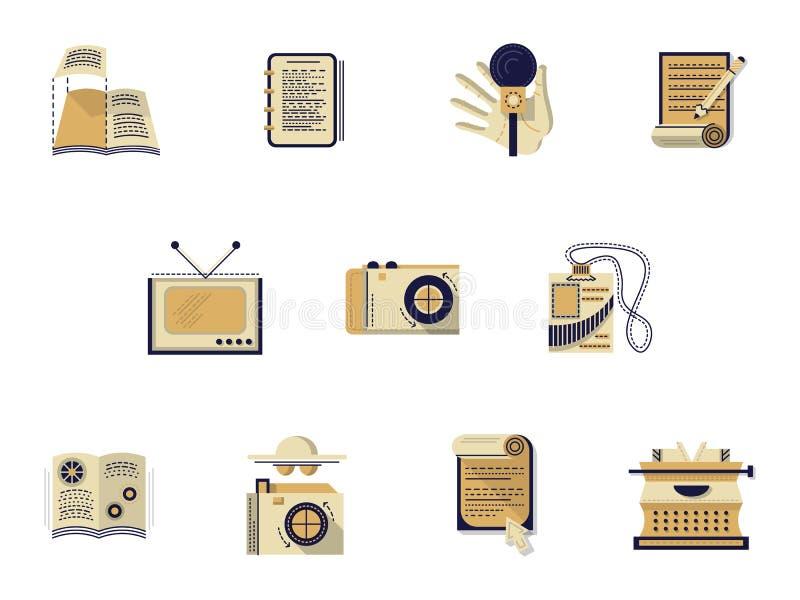 Iconos planos del color para la medios publicación ilustración del vector