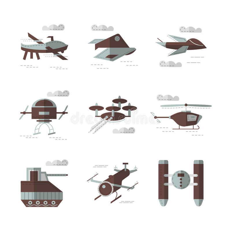 Iconos planos del color para los robots militares libre illustration
