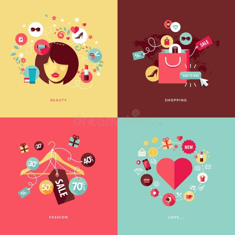 Iconos planos del concepto de diseño para la belleza y las compras