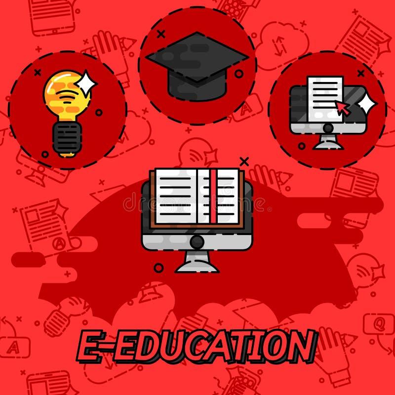 iconos planos del concepto de la E-educación libre illustration
