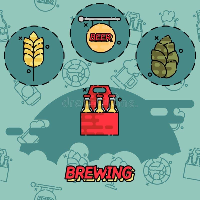 Iconos planos del concepto de la elaboración de la cerveza libre illustration