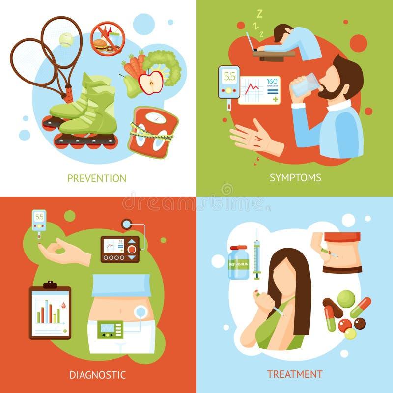 Iconos planos del concepto 4 de los síntomas de la diabetes libre illustration