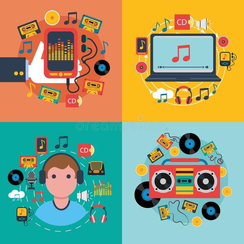 Iconos planos del concepto 4 del app de la música stock de ilustración
