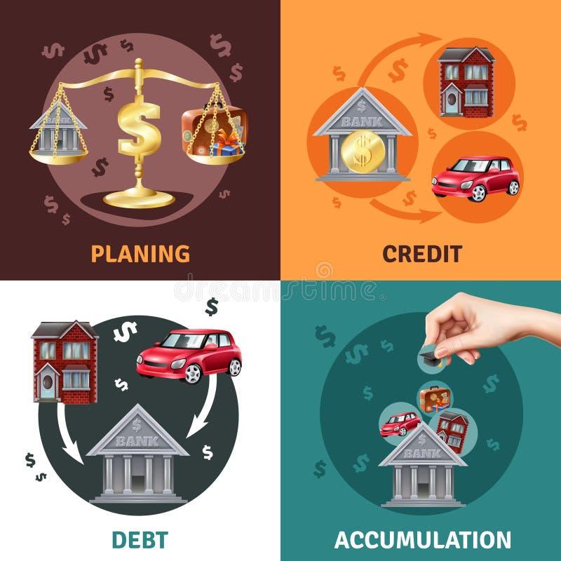 Iconos planos del concepto 4 del crédito de la deuda ilustración del vector