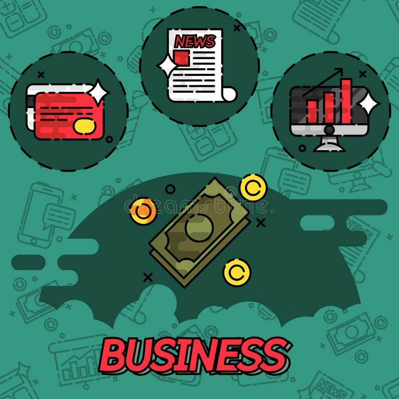 Iconos planos del concepto del negocio libre illustration