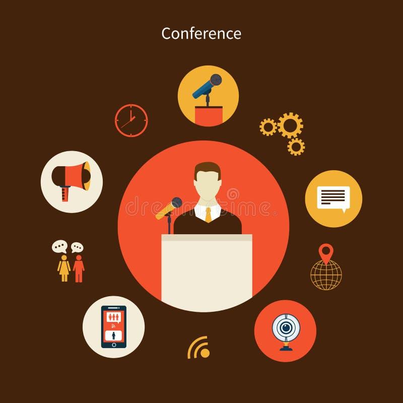 Iconos planos del concepto del negocio fijados ilustración del vector