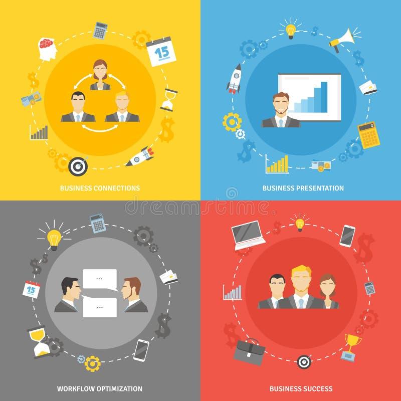 Iconos planos del concepto del negocio fijados stock de ilustración