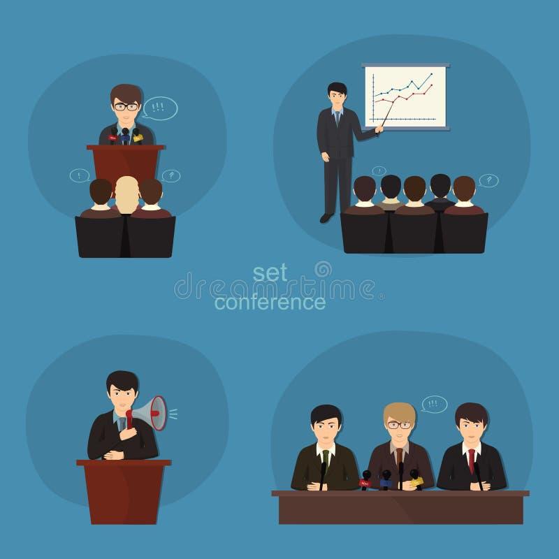 Iconos planos del concepto del negocio fijados de la reunión stock de ilustración