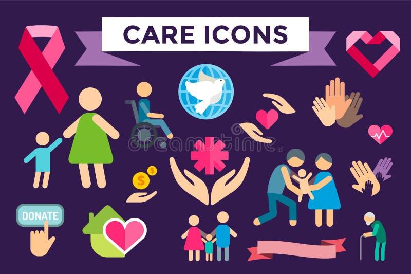 Iconos planos del cuidado de la caridad fijados ilustración del vector