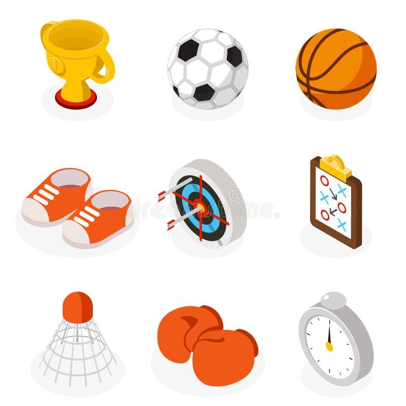 Iconos planos del deporte isométrico stock de ilustración