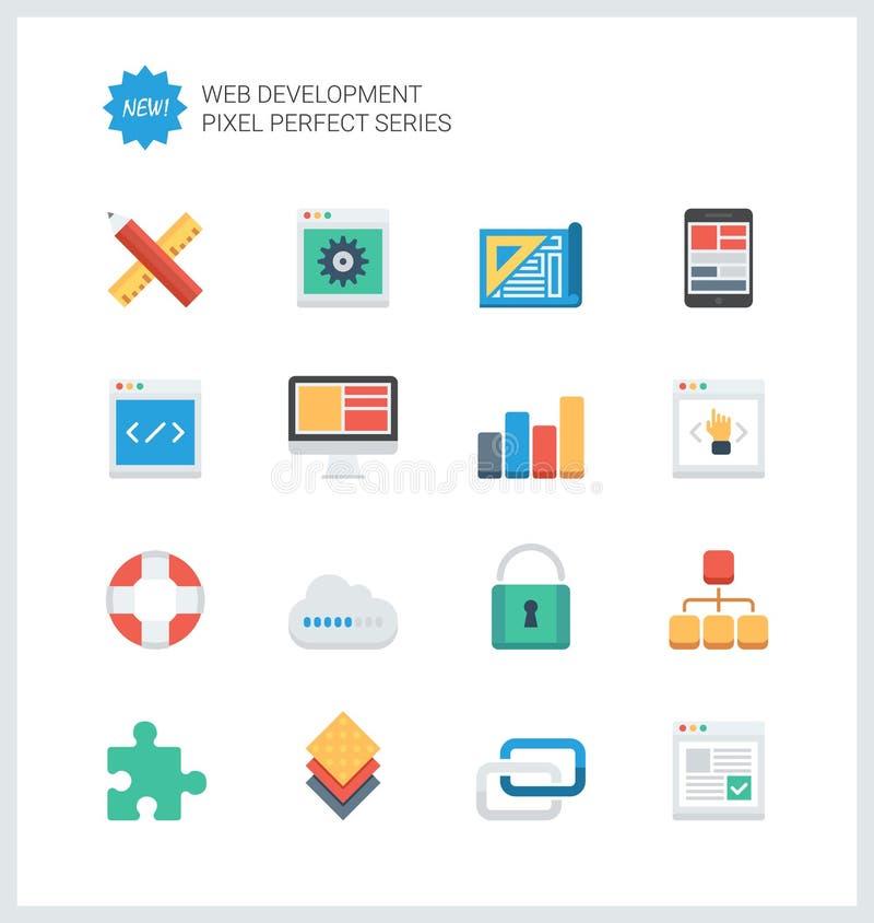 Iconos planos del desarrollo web perfecto del pixel ilustración del vector