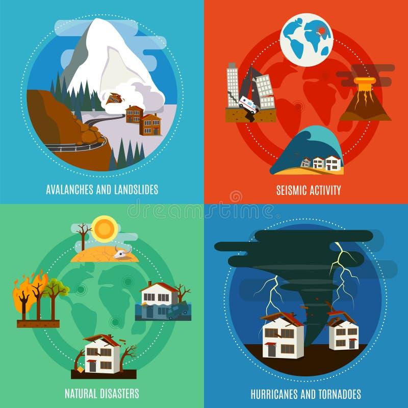 Iconos planos del desastre natural 4 fijados ilustración del vector