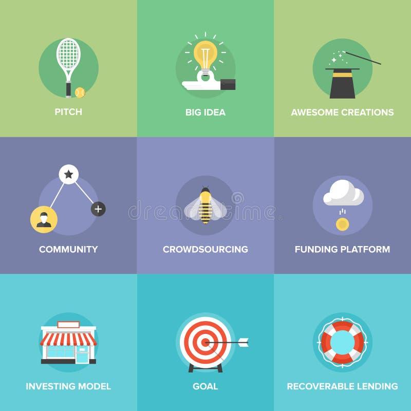 Iconos planos del dinero de Crowdsourcing y de la financiación ilustración del vector