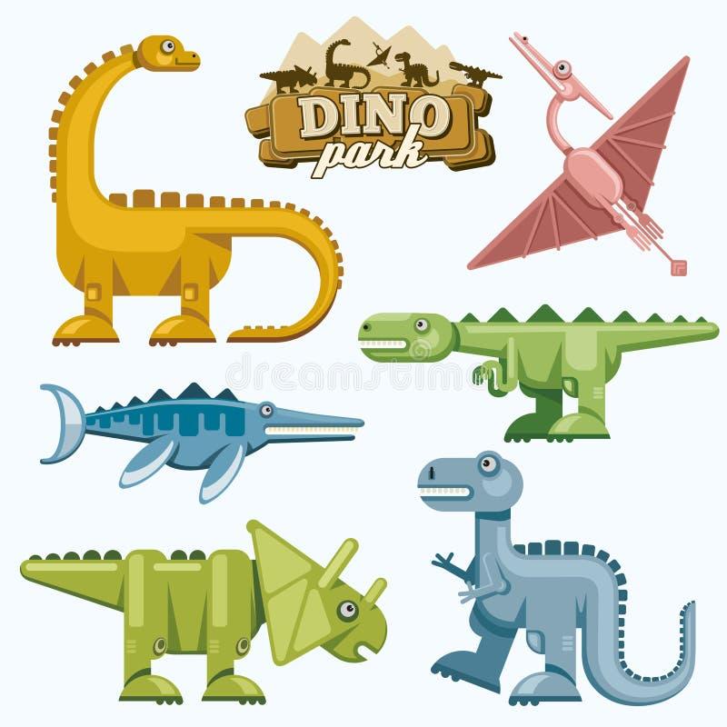 Iconos planos del dinosaurio y de los animales prehistóricos fijados stock de ilustración